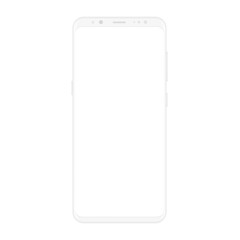 High quality realistic new version of soft clean white smartphone with blank white screen. Realistic vector mockup phone for visual ui app demonstration.