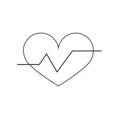 heartbeat vector icon. Linear vector illustration. Pictogram isolated on white background