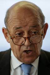 French Foreign Affairs Minister Jean-Yves Le Drian speaks during a news conference at the Permanent Mission of France to the United Nations in New York