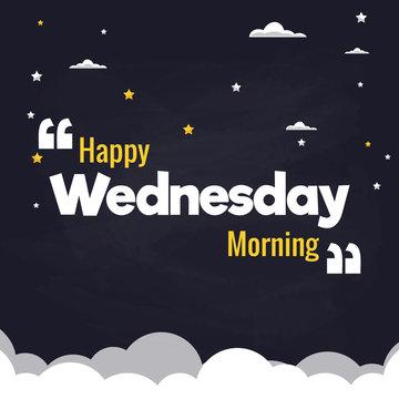 Happy Wednesday Morning Flat Illustration Background Vector Design