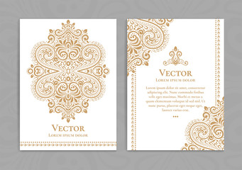 Gold and white vintage greeting card. Luxury vector ornament template. Great for invitation, flyer, menu, brochure, postcard, background, wallpaper, decoration, packaging or any desired idea Wall mural