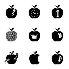 Apple world icons set. Simple set of 9 apple world vector icons for web isolated on white background