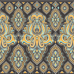 Beautiful floral seamless pattern. Vintage vector, paisley elements. Traditional,Turkish, Indian motifs. Great for fabric and textile, wallpaper, packaging or any desired idea.