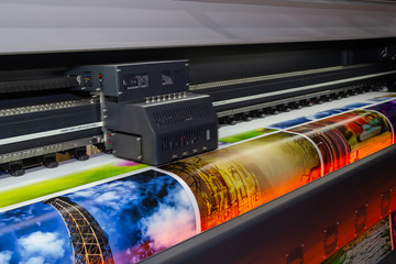 Large format printing machine in operation. Industry Wall mural