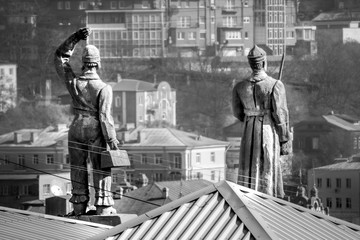 Old statue mans in the Vladivostok city