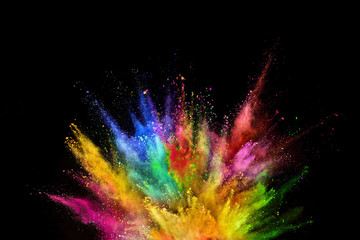 Colored powder explosion on black background. Fototapete