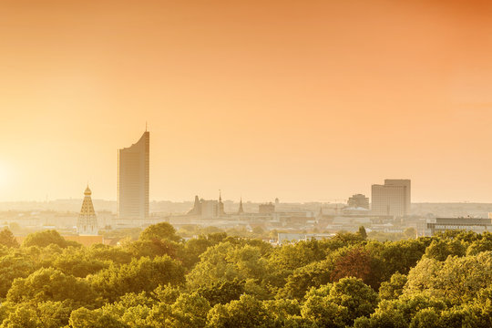 Cityscape view of Leipzig city, Saxony, Germany