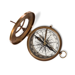 Vitage brass compass with sun-dial.
