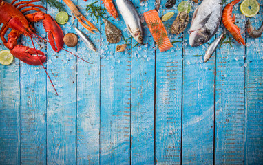Canvas Prints Seafoods Fresh tasty seafood served on old wooden table.
