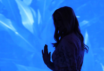 White House Senior Advisor Ivanka Trump is seen in silhouette after speaking at the Concordia Summit in Manhattan, New York