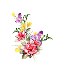 Spring bouquet. Hand made botanical illustration. Watercolor on paper. Print or postcard with roses crocuses and alstromeria.