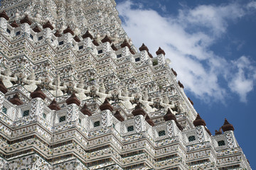 Wall Mural - The detail of Ancient pagoda inside Wat Arun temple in Bangkok, Thailand.