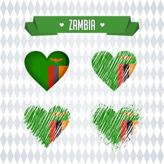 Zambia. Collection of four vector hearts with flag. Heart silhouette