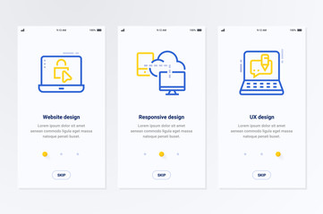 Website, Responsive, UX design Vertical Cards with strong metaphors.