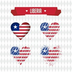 Liberia heart with flag inside. Grunge vector graphic symbols
