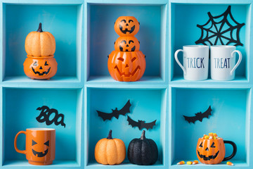 Halloween holiday composition with jack o lantern pumpkin and decorations