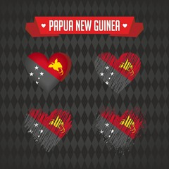 Papua New Guinea heart with flag inside. Grunge vector graphic symbols