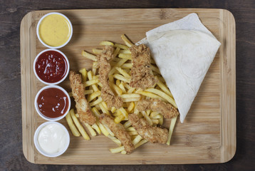 very delicious homemade crispy fried chicken with french fries