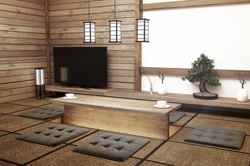 TV in modern white empty room interior,Designed for Japanese style lovers. 3D rednering