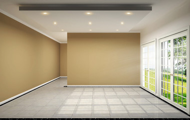 empty room interior design has brown wall on tile design 3D rendering