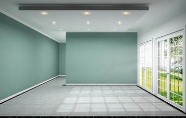 empty room interior design has mint wall on tile design 3D rendering