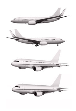 white planes isolated on white