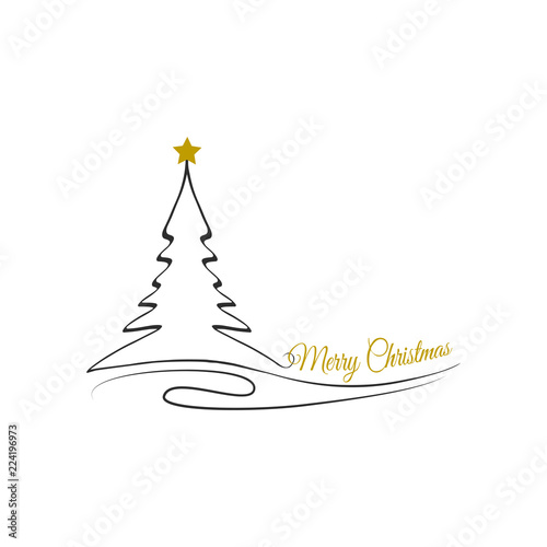 Merry Christmas Background With Christmas Tree And Gold Star Vector