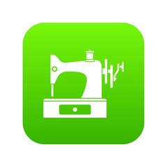 Sewing machine icon digital green for any design isolated on white vector illustration