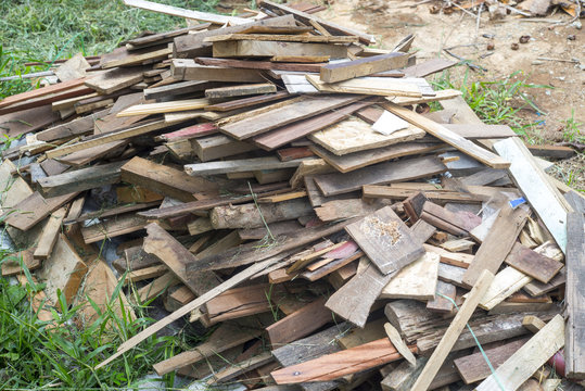 Pile of old wood chips , scrap wood - for Background