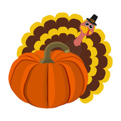 Funny peligrimm with a pumpkin for Thanksgiving