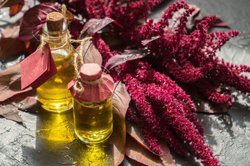 Photo sur Toile Condiment Bottles with amaranth oil and plants of amaranth