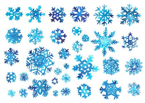 watercolor snowflake set on white