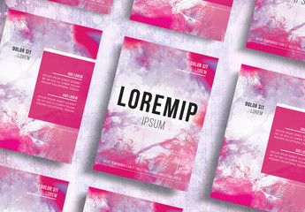 Flyer Layout with Pink Tree Background