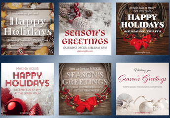 Holiday Invitation Social Media Post Layouts