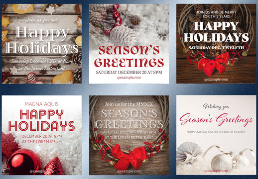 Holiday Invitation Social Media Post Layouts