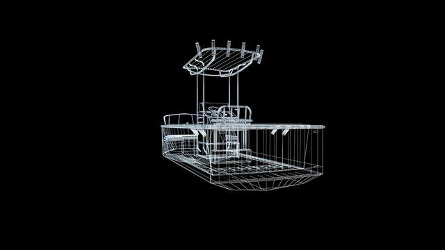 Boat  model body structure, wire model / 3d rendering