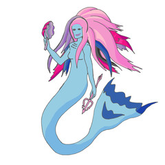 Mermaid in cartoon style.