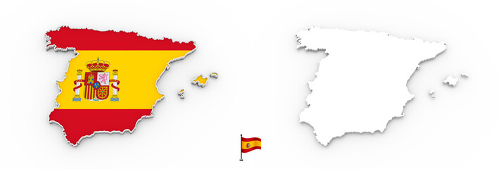 3D map of Spain white silhouette and flag
