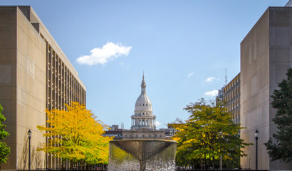 Lansing Michigan State Capitol Building. The state capital of Michigan with fall foliage on the downtown streets of Lansing Michigan. Wall mural