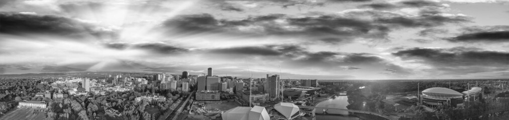 Stunning aerial panoramic view of Adelaide skyline at sunset in black and white, South Australia