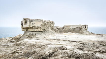 Panoramic view of ruins on the deserted Crimea coast