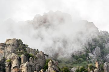 Demerdji mountain in evening fog, Crimea, Russia