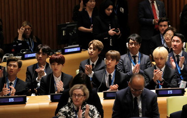 Korean pop singers BTS attend the U.N. Youth Strategy Conference at the 73rd United Nations General Assembly in New York