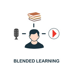 Blended Learning flat icon. Monochrome style design from online education icon collection. UI and UX. Pixel perfect flat blended learning icon. For web design, apps, software, print usage.