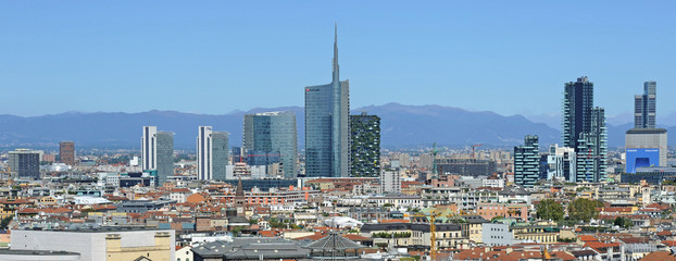 Italy - Milan - Duomo cathedral, Vittorio Emanuele Gallery and skyline - Skyscrepers and downtown - interstic place to visit in the center of the city - Unicredit tower and bosco verticale