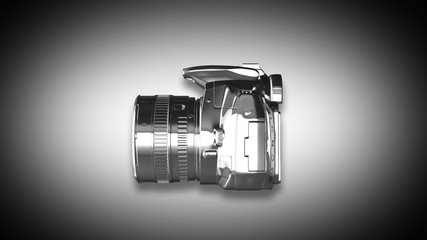 Digital camera from metal isolated on a white. 3D Render