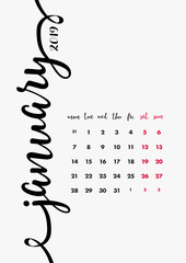 2019 Table Calendar Design. 12 Months Desk Diary. January 2019 – Page 1 of 12. Calligraphic Font Vector Design Template A4 size.
