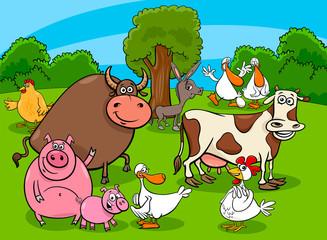 cartoon farm animal characters on meadow
