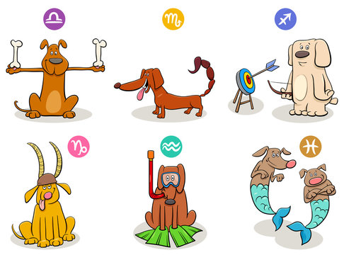horoscope zodiac signs set with funny dogs