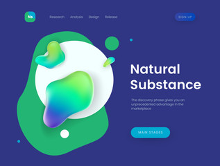 Landing page template with a blue background and abstract liquid shapes - Natural Substance, can be used for presentation, cover, business communication and branding theme web sites.
